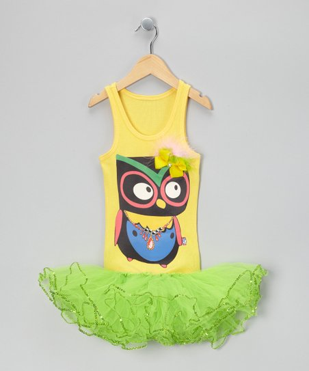Yellow & Lime Feather Owl Tutu Dress - Girls