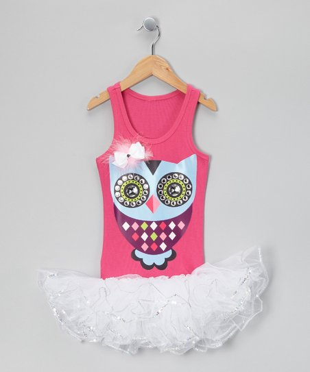 Hot Pink &amp; White Feather Owl Tutu Dress - Girls