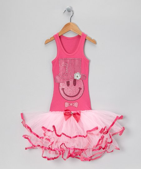 Hot Pink Smiley Top Hat Tutu Dress - Girls