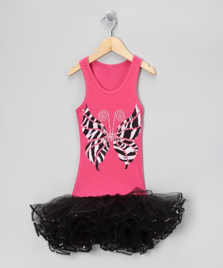 Hot Pink &amp; Black Zebra Butterfly Tutu Dress - Girls