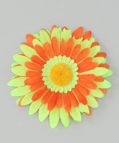 Green & Orange Flower Clip