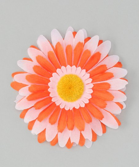 Pink &amp; Orange Flower Clip