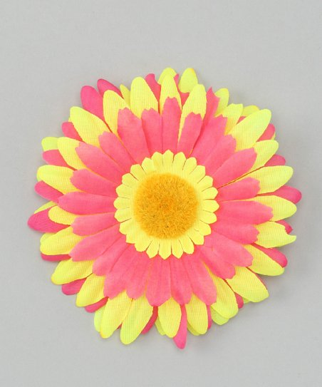 Yellow &amp; Hot Pink Flower Clip