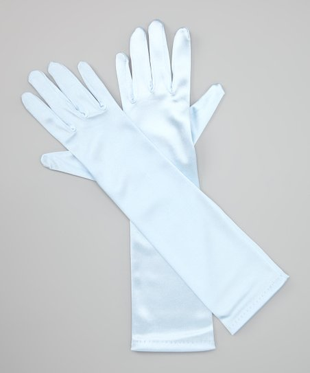 Sky Blue Long Satin Gloves