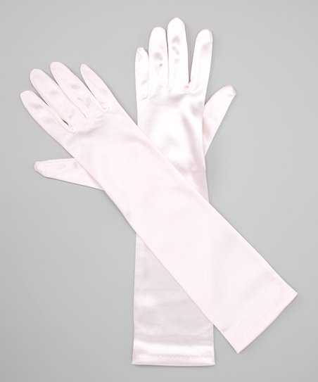 Light Pink Long Satin Gloves