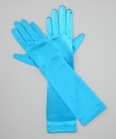 Turquoise Long Satin Gloves