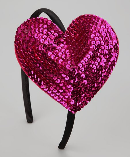 Bubblegum Diva Hot Pink Sequin Heart Headband