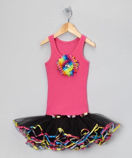 Hot Pink &amp; Black Sunflower Tutu Dress - Toddler &amp; Girls