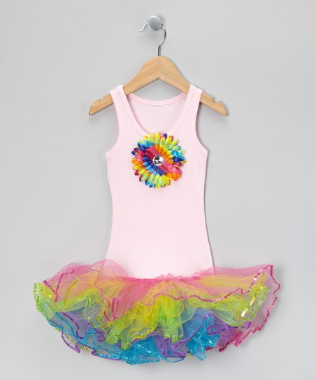 Light Pink & Rainbow Sunflower Tutu Dress - Toddler & Girls
