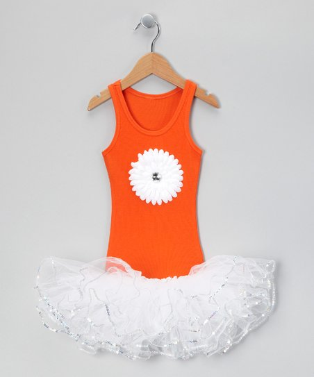 Orange & White Jewel Flower Tutu Dress - Toddler & Girls