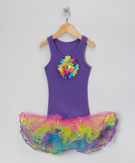 Purple & Rainbow Sunflower Tutu Dress - Toddler & Girls