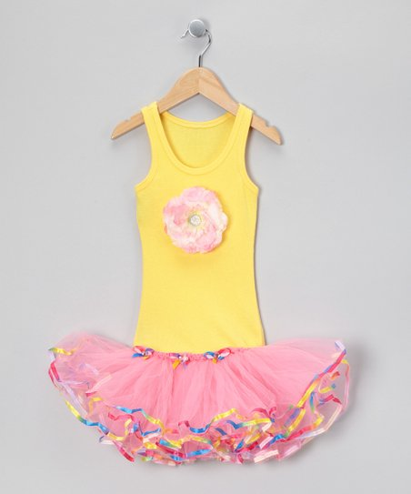 Yellow &amp; Pink Flower Ribbon Tutu Dress - Toddler &amp; Girls