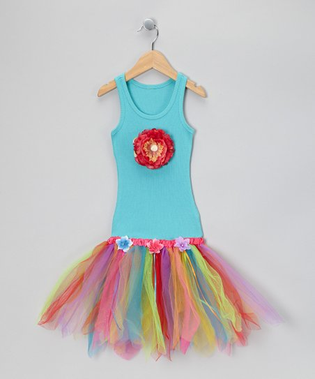 Turquoise &amp; Rainbow Flower Tutu Dress - Toddler &amp; Girls
