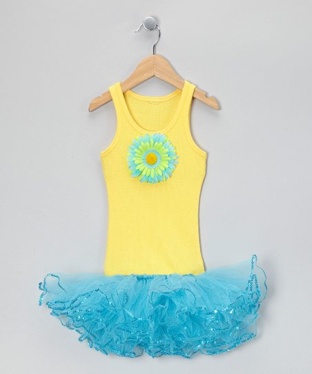 Yellow & Blue Sunflower Tutu Dress - Toddler & Girls