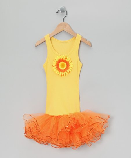 Yellow &amp; Orange Sunflower Tutu Dress - Toddler &amp; Girls