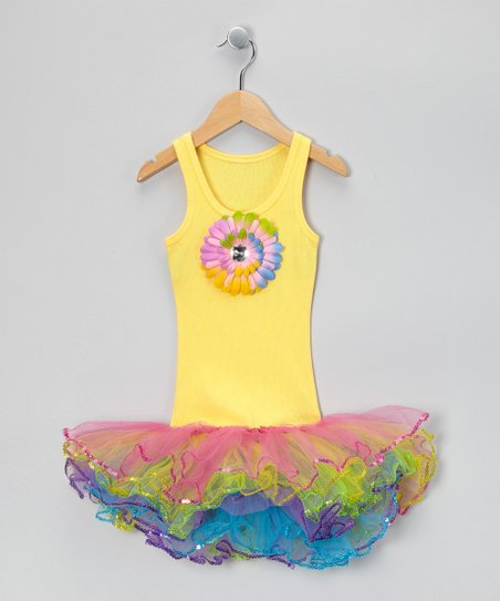 Yellow &amp; Rainbow Sunflower Tutu Dress - Toddler &amp; Girls