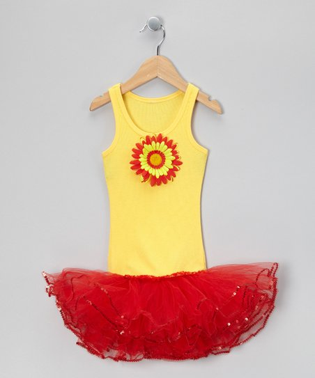Yellow &amp; Red Sunflower Tutu Dress - Toddler &amp; Girls