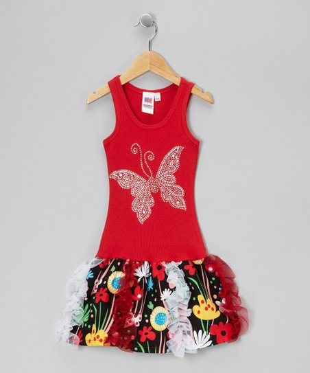 Red & Black Butterfly Garden Ruffle Dress - Toddler & Girls