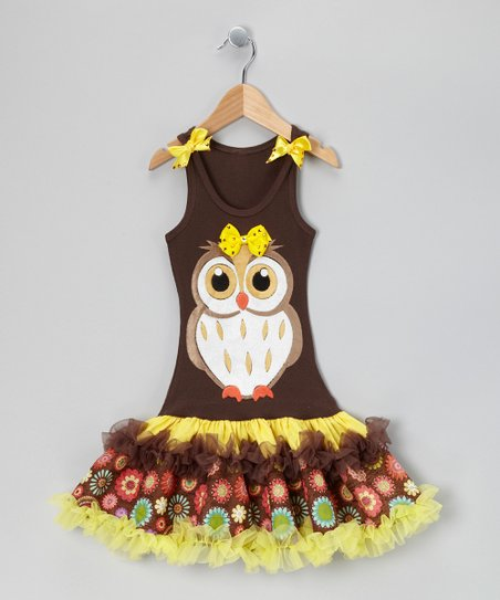 Brown Baby Owl Ruffle Drop-Waist Dress - Toddler & Girls