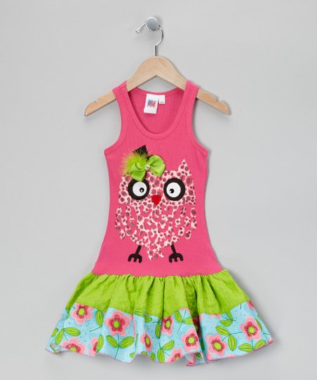 Hot Pink &amp; Lime	 Cheetah Owl Ruffle Dress - Toddler &amp; Girls
