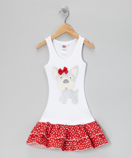 White &amp; Red Polka Dot Puppy Drop-Waist Dress - Toddler &amp; Girls