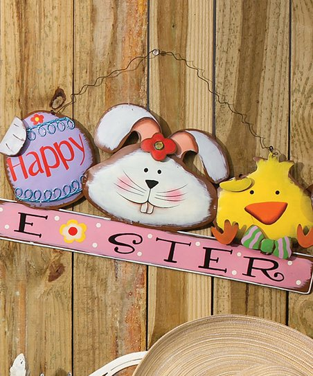 &#039;Happy Easter&#039; Chick &amp; Bunny Wall Art