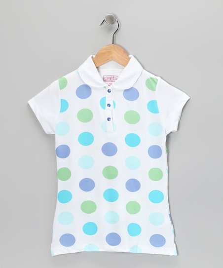 Periwinkle Polka Dot Lucy Polo - Girls