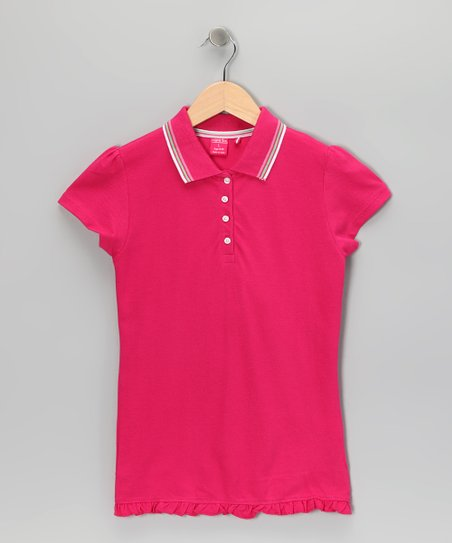 Bright Pink Tatumn Polo - Girls