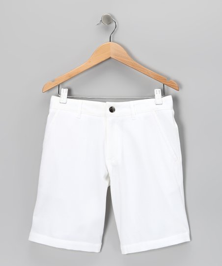 White Travis Shorts - Boys