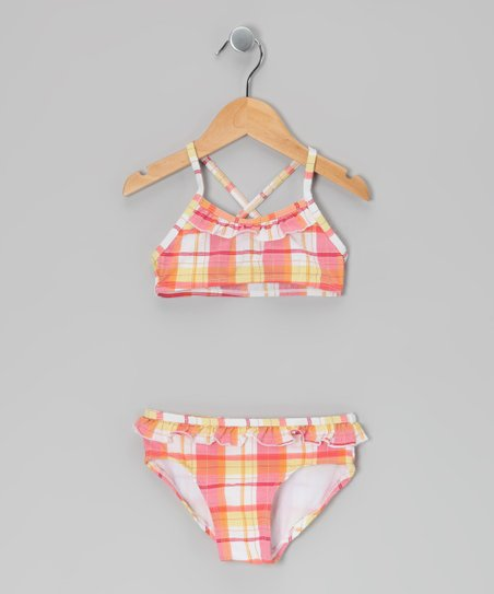 Orange & Yellow Plaid Ruffle Bikini - Toddler & Girls