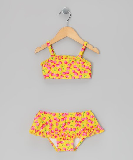 Yellow Cherry Skirted Bikini - Infant & Toddler
