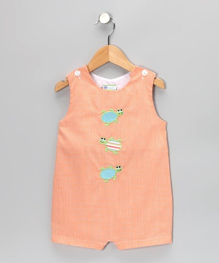 Orange Gingham Turtle Shortalls - Infant