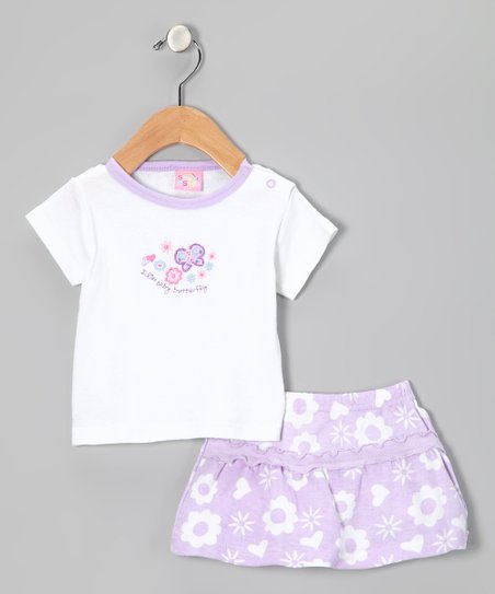 Purple&amp; White Butterfly Tee &amp; Shorts
