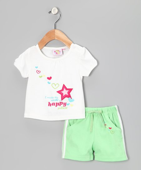 Green & White 'Happy' Tee & Shorts