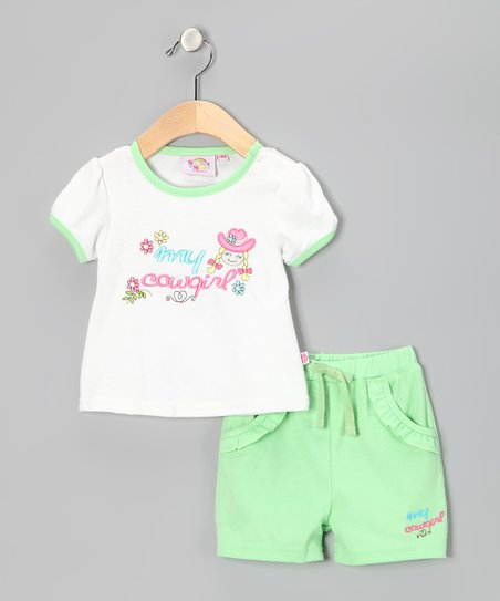 Green 'My Cowgirl' Tee & Shorts