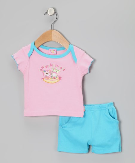 Pink 'Huggable Friends' Tee & Shorts