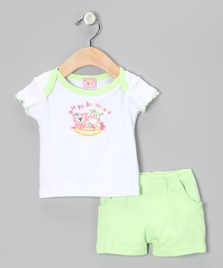 Green 'Huggable Friends' Tee & Shorts