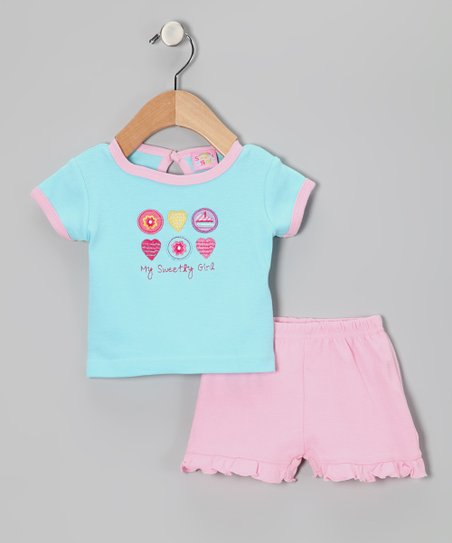 Turquoise &amp; Pink My Sweety Tee &amp; Shorts