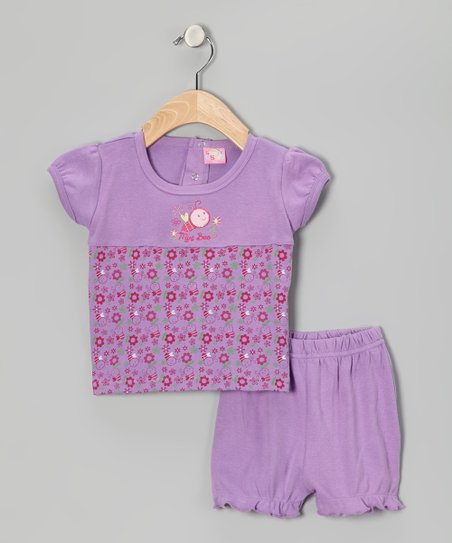 Purple 'Mini Bee' Tee & Shorts