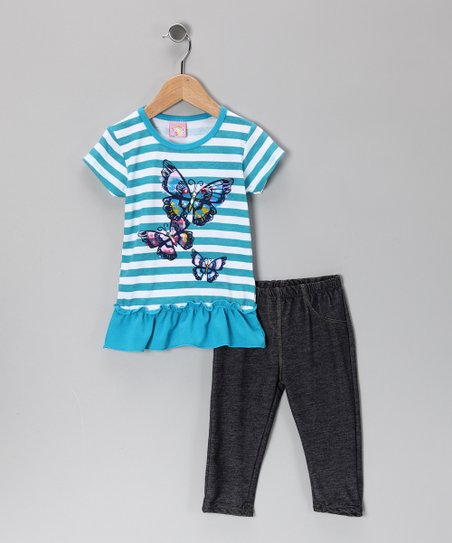 Blue Stripe Butterfly Ruffle Tunic & Jeggings - Infant