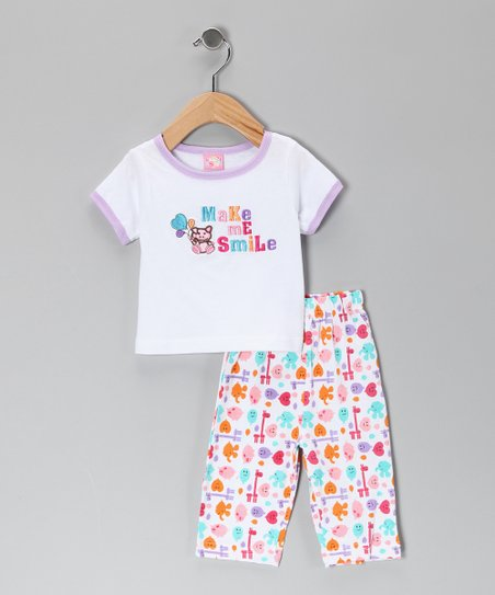 White &#039;Make Me Smile&#039; Tee &amp; Pants - Infant