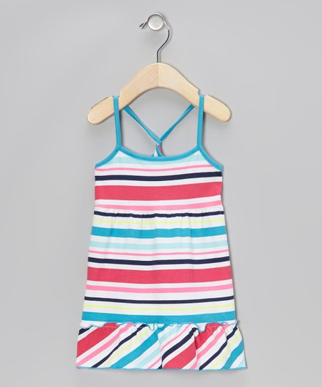 Blue & Pink Stripe Ruffle Dress - Toddler & Girls