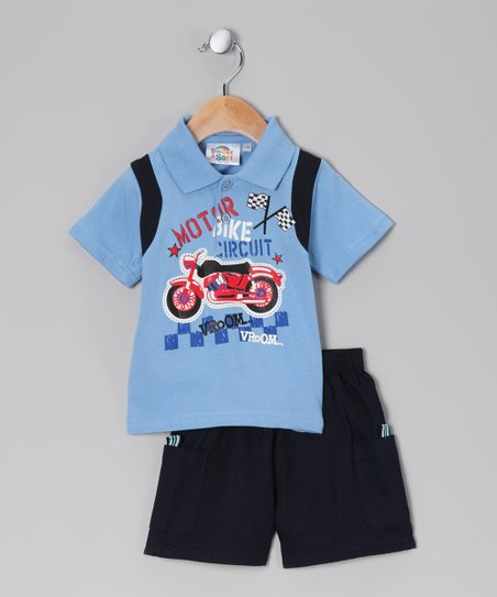 Sweet &amp; Soft Light Blue &#039;Bike Circuit&#039; Polo &amp; Shorts - Infant