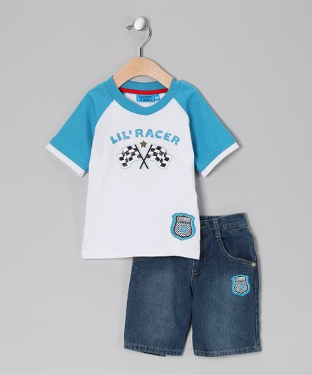 Sweet &amp; Soft Blue &#039;Lil Racer&#039; Tee &amp; Shorts - Infant
