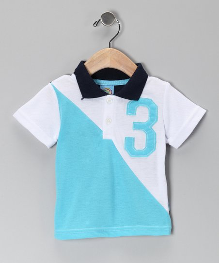 Blue & White '3' Polo - Infant