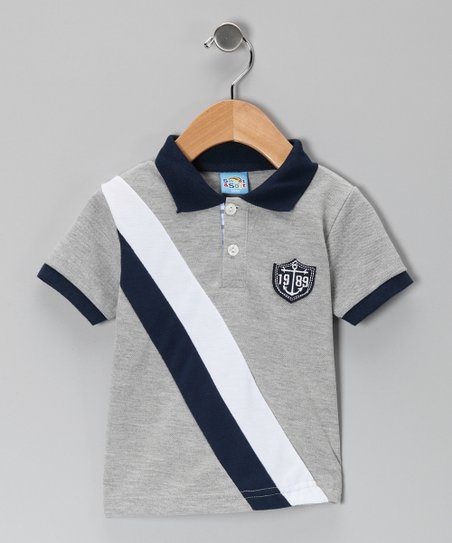Gray Sash Stripe Polo - Infant