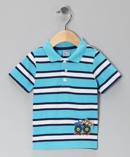 Turquoise Stripe Work Truck Polo - Infant