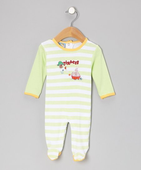 Green Stripe 'Pirates' Footie - Infant