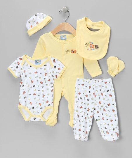 Yellow 'Love Animals' Six-Piece Layette Set