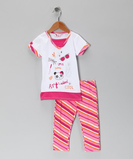Hot Pink Art Tunic & Leggings - Toddler